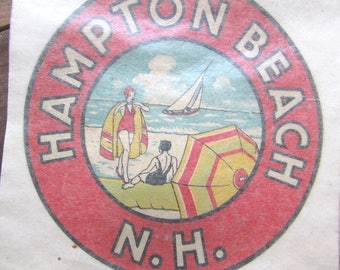 Vintage New Hampshire Decal Hampton Beach NH Souvenir Luggage Sticker
