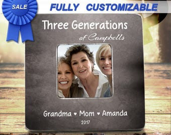 Generation Picture Frame Three Generation Picture Frame Four Generations Family Frame Last Name Framed Custom Name Frame Grandma Christmas