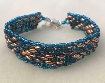 Aqua Super Duo Beaded Bracelet
