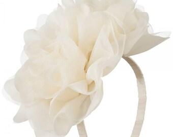 2 Large Soft Flowers with Netting Headband