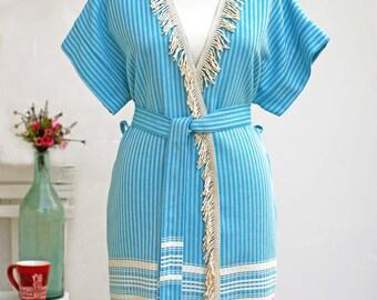 Fringed Peshtemal Woman Robe  | 100% Turkish Cotton Beach Robe