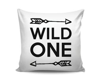 Arrow Decor, Wild One Cushion Cover, Throw Pillow, Gift for Mom, Modern Baby Christmas Gift, Scandinavian Nursery Decor, Black White Pillow