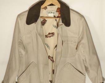 Vintage LL Bean USA made barn coat// Natural khaki corduroy green trim hunting chore preppy grunge jacket// Women's small