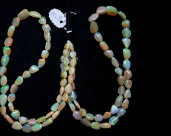 Pair Of 2 Strands of Ethiopian Opal Smooth Nuggets (ET06)