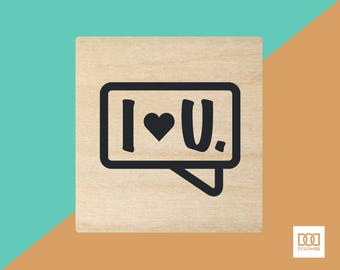 I Love You Textbox - 3cm Rubber Stamp (DODRS0133)