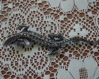 Darling Vintage Lizard Sterling & Marcasite Brooch