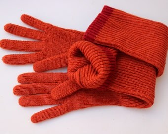 Long gloves orange Knit gloves vintage long wool winter gloves knit accessories knitting gloves unisex warm knitted gloves