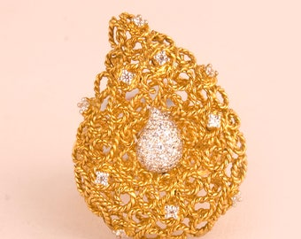 Gold Plated Paisley Rope Cz Ring