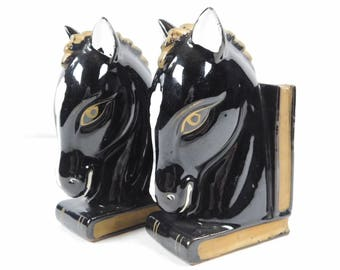 Vintage 2 Piece Set Glossy Ceramic Brown Black Horse Head Book Bookends Japan Equestrian Decor Library Man Cave Office