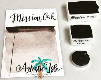 Mission Oak, brown, umber, handmade watercolor, watercolor, watercolor painting, paint, artistic isle, natural earth paint, organic