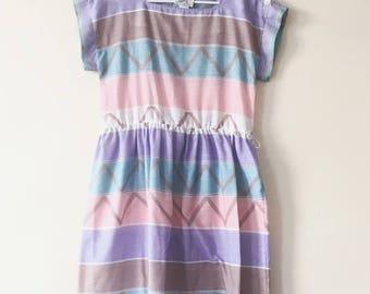 Malouf- 1970s Dress- Pastel- Retro- Vintage- Mom