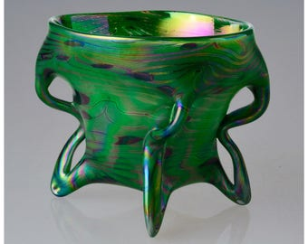 Green Glass Bowl. Bohemian Hand Blown Iridescent Art Glass
