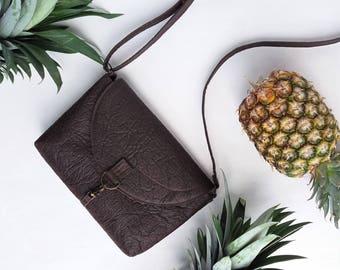 Vegan leather crossbody satchel purse eco friendly pinatex handbag