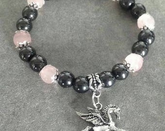 Please énergétisé magnetic Hematite Bracelet, rose quartz, silver plated beads and a Pegasus pendant