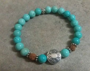 Pearl bracelet exception larimar energized, MANDALA, rudraksha seeds