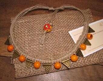 Orange linen macrame color Acai seeds necklace
