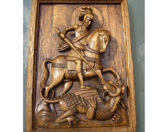 Vintage Carved Wood Plaque St George and the Dragon, 1950s