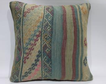 kilim pillow 18x18 striped kilim pillow cushion cover embroidery Turkish kilim pillow throw pillow ethnic pillow kilim pillowcase   1409