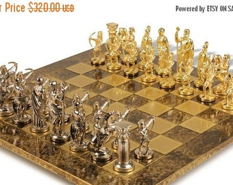 For Sale Archers Chess Set - Gold-Silver - Brown Board
