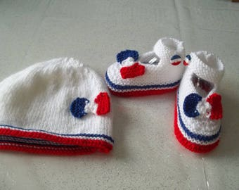 Special patriotic set hat and booties matching 0/3 months