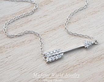 Clear Cubic Zirconia Sideways Arrow Necklace *NEW*