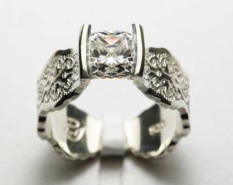 Unique Engagement Ring, Moissanite Engagement Ring, Art Deco Engagement Ring, Moissanite Ring, Gold Engagement Ring,Princess Engagement Ring