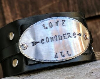 Wide leather, cuff bracelet, Personalized, Metal Bracelet, Inspirational, bracelet, Motivational, jewelry, custom cuff, stamped bracelet