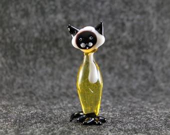 Cute Glass cat Figurine Glass Cat Glass Animal Sculpture Glass Figurine Glass Figure Glass Animals Glass Figurines Glass Figures Cat(lc3)
