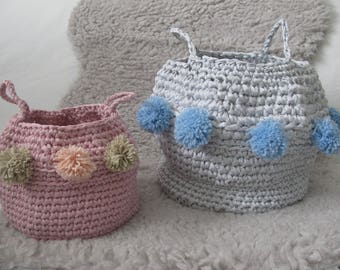 grey storage basket basket, handmade in crochet with cotton gets recycled