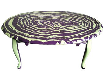 Oval coffee table abstract painted