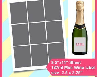 "Instant Download, 187ml mini wine bottle label, Mini Champagne Labels. PSD, PNG and SVG, Dxf Formats,  8.5x11"" sheet,  Printable 055"