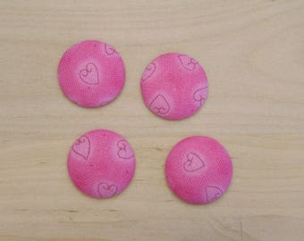 fabric 4 cabochons x 20mm pink hearts ref C-6