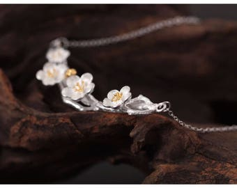 Plum blossom necklace, sterling silver flower necklace