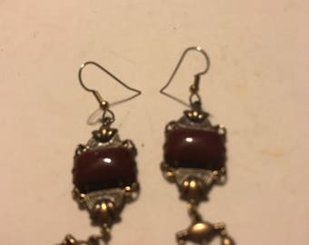 Vintage dangle earrings= gold tone and deep red