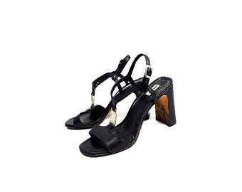 DKNY : 90s Vtg Black Faux Leather T-Strap Strappy Ankle Block Heels   Sz 6