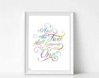 Quote poster, poster gift wedding gift couple, for him, for her, love calligraphy illustration, art print, watercolor