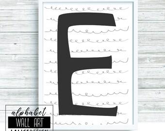 Alphabet E black and white printable wall art, home decor, wall decor
