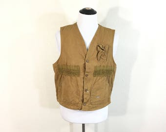 70's vintage blue bill canvas hunting vest ptache pocket
