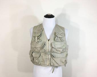 70's vintage cotton fisherman vest zip up