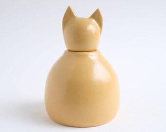 Golden Cat Urn -  yellow urn, small pet urn, yellow tabby cat urn, cat urn