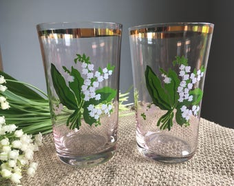 Soviet Vintage Tumblers with with Lily-of-the-Valley Image and Golden Rim. Soviet Glasses. Set of 2, made in USSR, Soviet Glass.