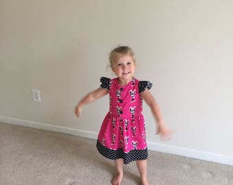Minnie Mouse school girl dress - size 4T ready to ship - can request 2T-5