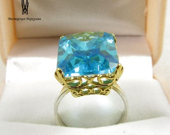 Synthetic Topaz stone Sterling Silver 925 Gold - Plated Ring