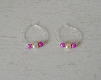 Glitter jewelry, pair of ivory and pink hoop earrings