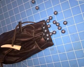 Large Leather Ball/Shot Bag Handmade