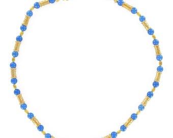 Collier vermeil perles bleues Vermeil Etrusque