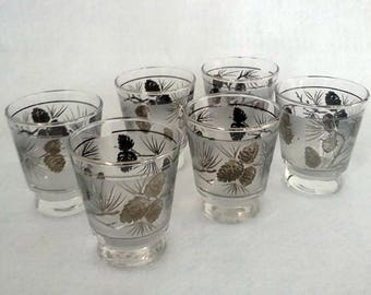 Vintage Libby Frosted Sliver Pine Cone Glasses - Set Of 6