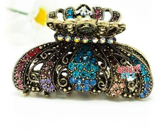 multi color Crystal high quality Metal Imperial crown Hair Claw Clip Pin