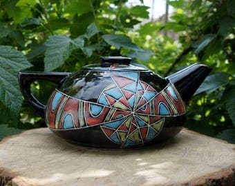 Glazed teapot Earthenware teapot Teapot hand-painted Teapot Fantasy Ceramic teapot Womens gift Gift wife Black teapot Wedding gift Birthday