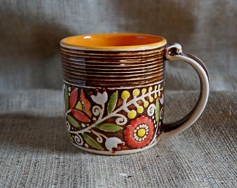 Gift-for-mother-Ceramic-coffee-mug-Brown-tea-cup-Father-mug-Office-gifts-Rustic-style-Mothers-birthday-gifts-for-wife-mug-pottery-cup